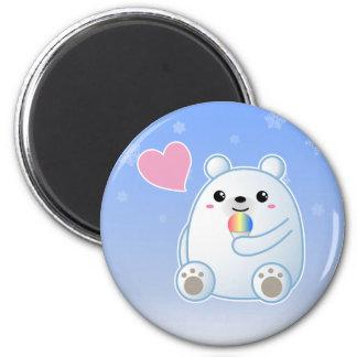 Amor del oso polar imán redondo 5 cm