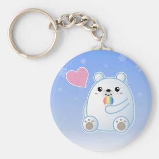 Amor del oso polar llavero redondo tipo pin