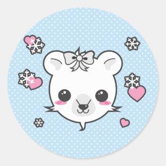 Amor del oso polar etiqueta redonda