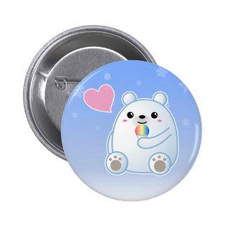 Amor del oso polar pin redondo de 2 pulgadas