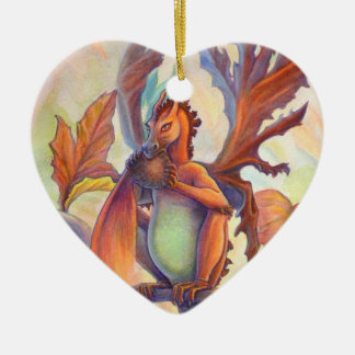 Amor del otoño adorno navideño de cerámica en forma de corazón