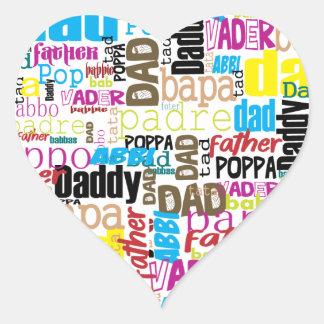 amor del papá en diverso estilo de lengua pegatina en forma de corazón
