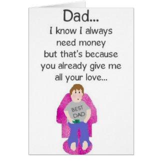 Amor del papá… para el dinero tarjetas