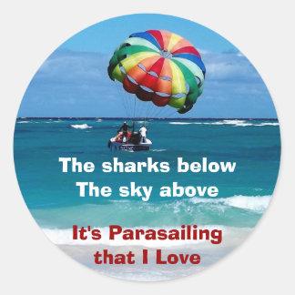 Amor del Parasailing Pegatina Redonda