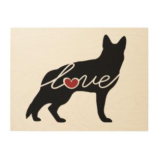 Amor del pastor alemán impresión en madera