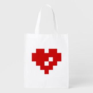 Amor del pedazo del corazón 8 del pixel bolsa para la compra