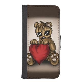 Amor del peluche funda tipo billetera para iPhone 5