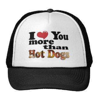 Amor del perrito caliente gorras