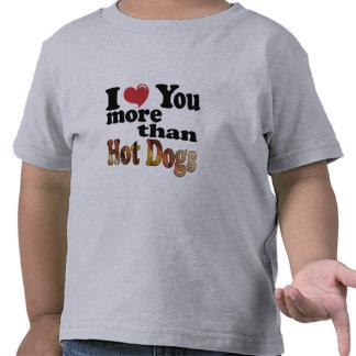 Amor del perrito caliente camiseta