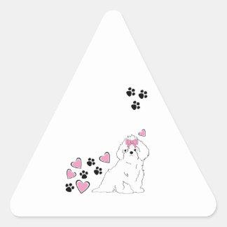 Amor del perrito pegatina triangular