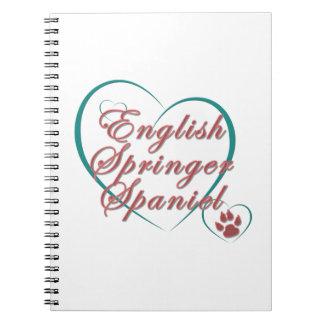 Amor del perro de aguas de saltador inglés cuadernos