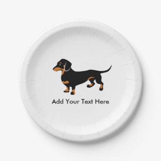 Amor del perro de Doxie - pequeño Dachshund lindo Plato De Papel De 7 Pulgadas
