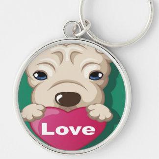 Amor del perro de Oxygentees Llavero Redondo Plateado