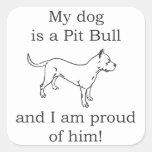 Amor del perro del pitbull pegatina cuadradas