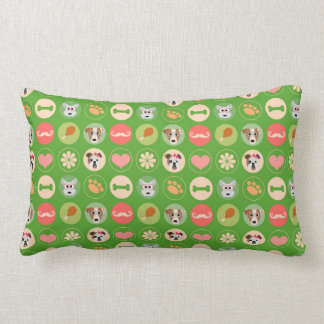Amor del perro en verde cojin