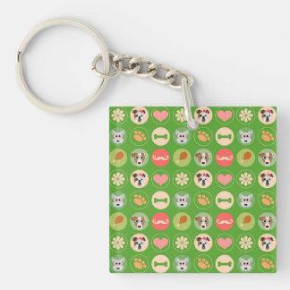 Amor del perro en verde llavero cuadrado acrílico a una cara