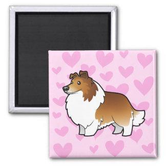 Amor del perro pastor/del collie de Shetland Imán Cuadrado