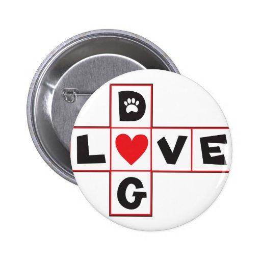 Amor del perro pin redondo de 2 pulgadas