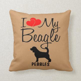 Amor del personalizado I mi beagle Cojín Decorativo