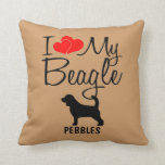 Amor del personalizado I mi beagle Cojines