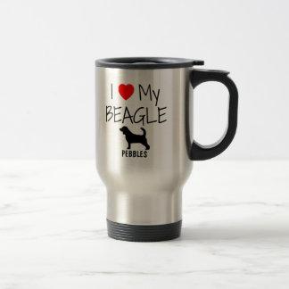Amor del personalizado I mi beagle Taza De Viaje De Acero Inoxidable