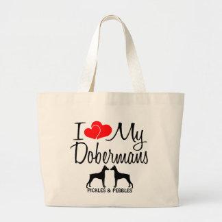 Amor del personalizado I mi bolso de dos Dobermans Bolsa Tela Grande