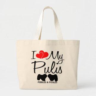 Amor del personalizado I mi bolso de dos Pulis Bolsa Tela Grande