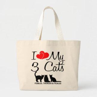 Amor del personalizado I mi bolso de tres gatos Bolsa Tela Grande