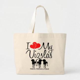 Amor del personalizado I mi bolso de tres Vizslas Bolsa Tela Grande