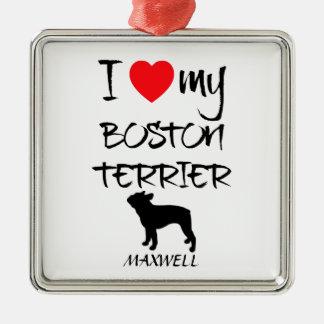 Amor del personalizado I mi Boston Terrier Adorno Cuadrado Plateado