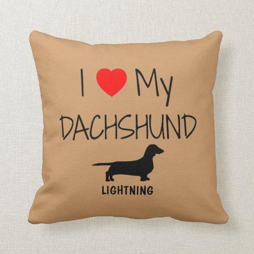 Amor del personalizado I mi Dachshund Cojín Decorativo