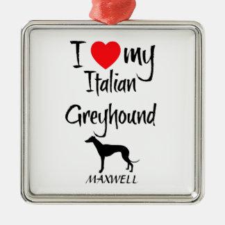 Amor del personalizado I mi galgo italiano Adorno Cuadrado Plateado