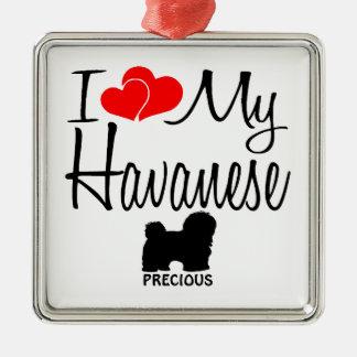 Amor del personalizado I mi Havanese Adorno Navideño Cuadrado De Metal