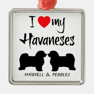 Amor del personalizado I mi Havaneses Adorno Navideño Cuadrado De Metal