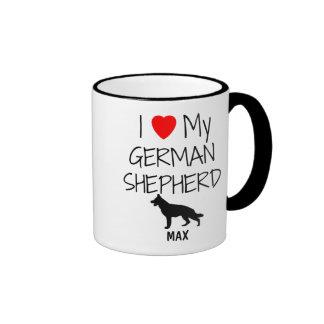 Amor del personalizado I mi pastor alemán Tazas De Café