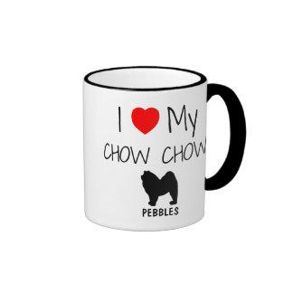 Amor del personalizado I mi perro chino de perro c Tazas De Café