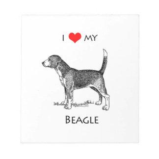 Amor del personalizado I mi perro del beagle Bloc De Notas