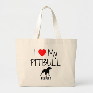 Amor del personalizado I mi Pitbull Bolsa Tela Grande