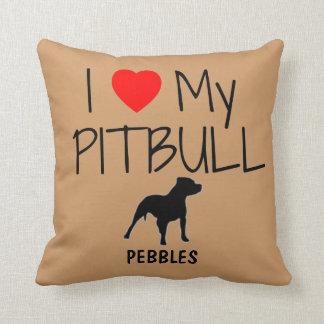 Amor del personalizado I mi Pitbull Cojines