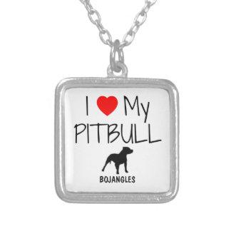 Amor del personalizado I mi Pitbull Colgante Cuadrado