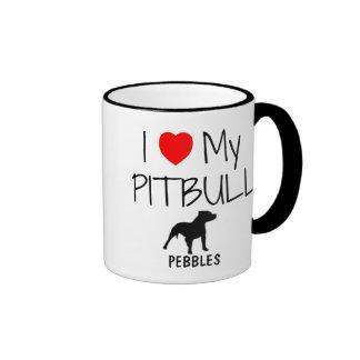 Amor del personalizado I mi Pitbull Tazas De Café