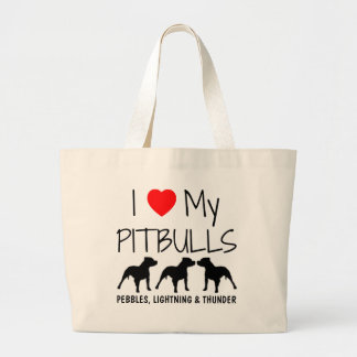 Amor del personalizado I mi Pitbulls Bolsa Tela Grande