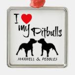 Amor del personalizado I mi Pitbulls Ornamento De Navidad