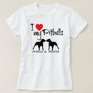 Amor del personalizado I mi Pitbulls Playera