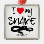 Amor del personalizado I mi serpiente Ornamentos De Navidad