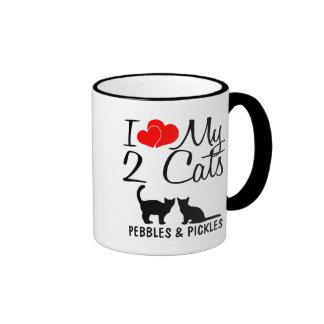 Amor del personalizado I mi taza de dos gatos