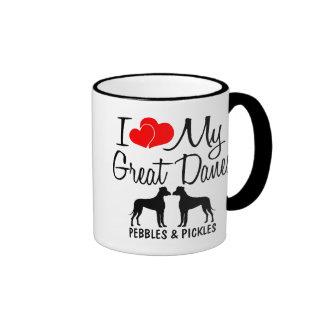 Amor del personalizado I mi taza de dos grandes