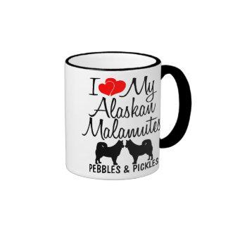 Amor del personalizado I mi taza de dos Malamutes