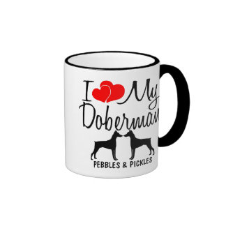 Amor del personalizado I mi taza de dos perros del