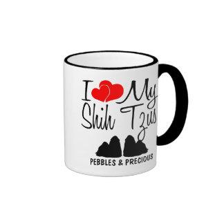 Amor del personalizado I mi taza de dos Shih Tzus